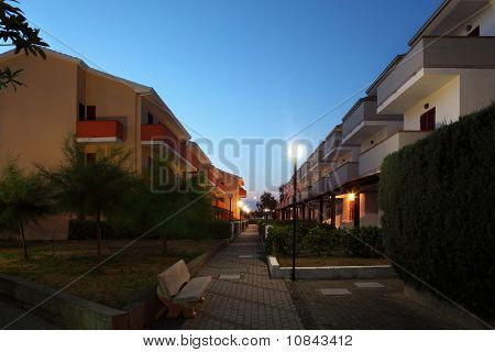 Little Street Between Cottages In  Evening In Summer