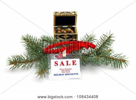 Fir-tree Branch, Casket With Forest Nutlets And An Inscription About Christmas Sale