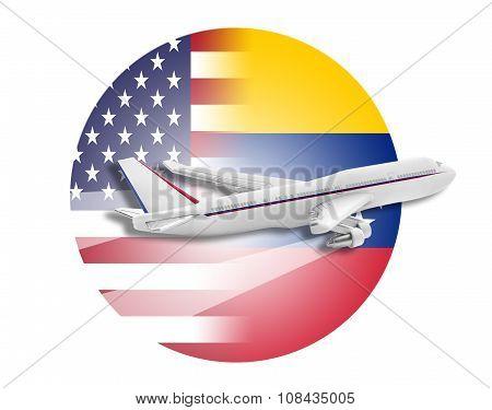 Plane, United States and Venezuela flags.