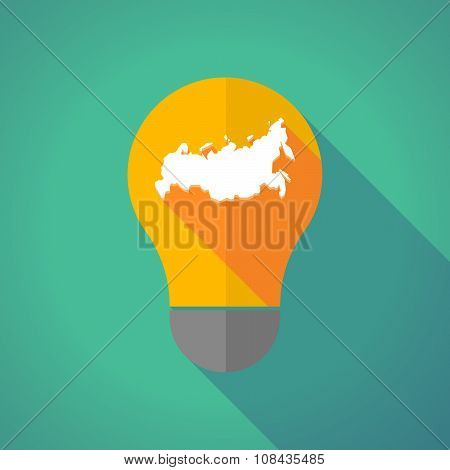 Long Shadow Vector Light Bulb With  A Map Of Russia