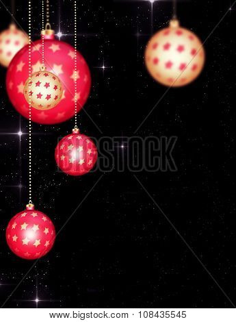 Beautiful Red Gold Christmas Balls Hanging on Golden Chains.