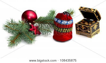 Fir-tree Branch, Bag And Casket With Nutlets, Isolate, Winter, The Subject Christmas And New Year