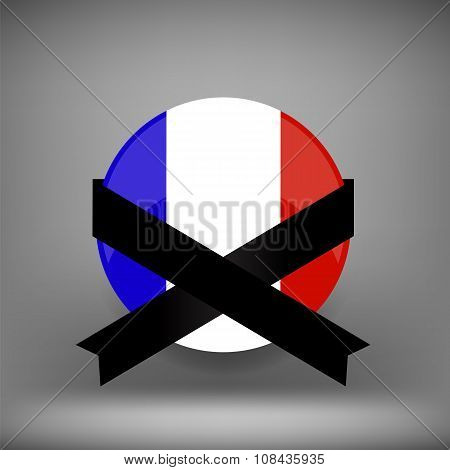 Franch Icon and Black Ribbon