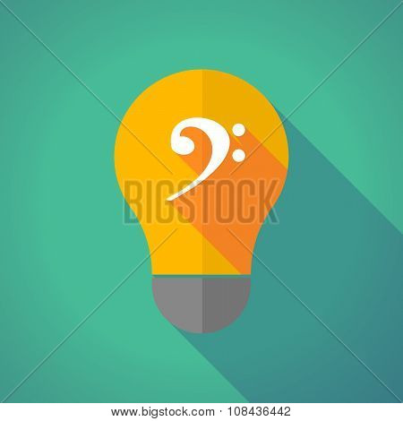 Long Shadow Vector Light Bulb With An F Clef