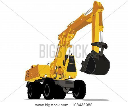 Yellow Excavator With Wheels