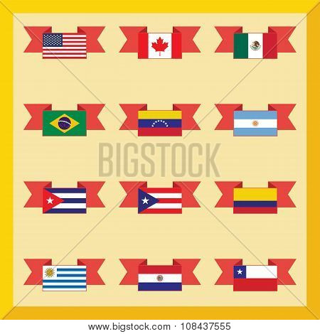 Flat Flags, North And South America