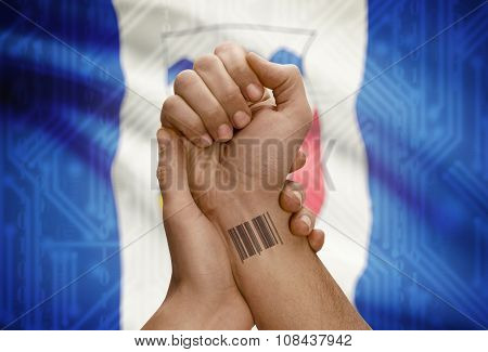 Barcode Id Number On Wrist Of Dark Skin Person And Canadian Province Flag On Background - Northwest