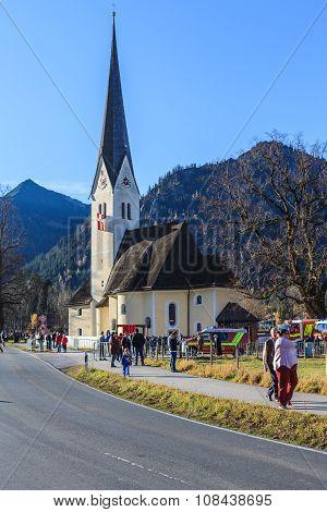 Schliersee, Germany, Bavaria 08.11.2015: Church St.Leonhardi in Schliersee in Leonhardifahrt