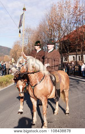 Schliersee, Germany, Bavaria 08.11.2015: pioneer with script in Leonhardifahrt in Schliersee