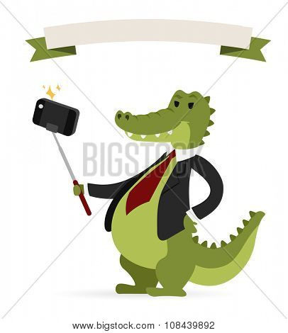 Selfie photo crocodile business man vector portrait illustration on white background. Cartoon crocodile business man, crocodile vector. Selfie shot crocodile businessman. Vector crocodile isolated