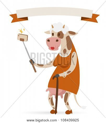 Selfie photo cow old woman vector portrait illustration on white background. Cartoon cow old woman, animal cow vector. Selfie shot cow woman human body. Vector cow animal isolated. Cow vector old