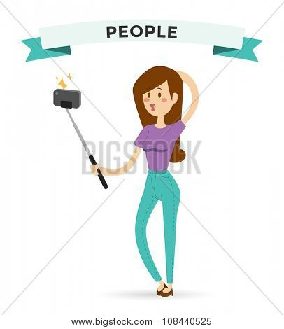Selfie photo shot girl or woman vector portrait illustration on white background. People fun vector illustration. Selfie shot woman, girl, teenager girl, adult girl. Vector selfie photo shot people