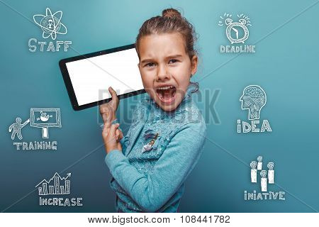 teen girl holding a tablet pointed at him and yelled angry sketc
