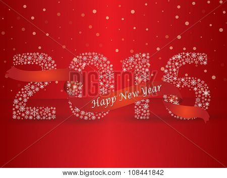 Happy New Year 2016, The Number Made With Flakes Wrapped In Red Tape. Vector Eps 10
