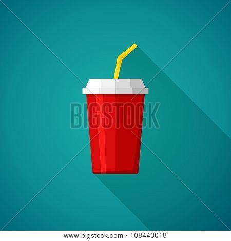 Cola and Soda. Cup for fast food. Drink icon