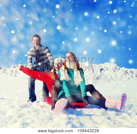 Holidays in The Snow Happiness Fun Cheerful Concept