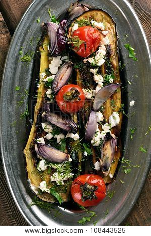 Roasted Eggplant With Tomatoes, Onion And Cheese