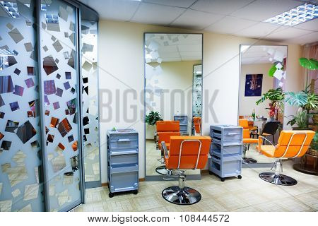 Interior of modern hair salon