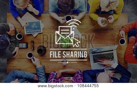 File Sharing Online Email Network Media Concept