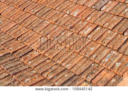 Texture of old orange roof tiles in Sintra, Portugal