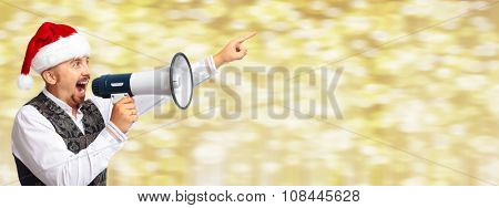 Santa man with megaphone. Christmas party concept background.