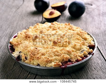 Plum Crumb Tart In Pan