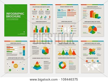 Colorful business A4 brochures with infographic vector elements.