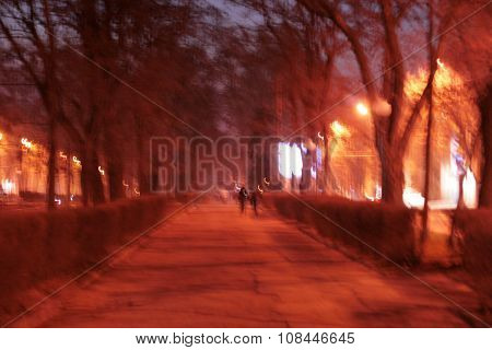 Evening Avenue In The Light Of Lanterns