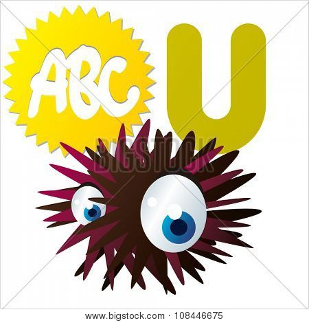 Vector comic funny cartoon animals alphabet:U  is for Urchin