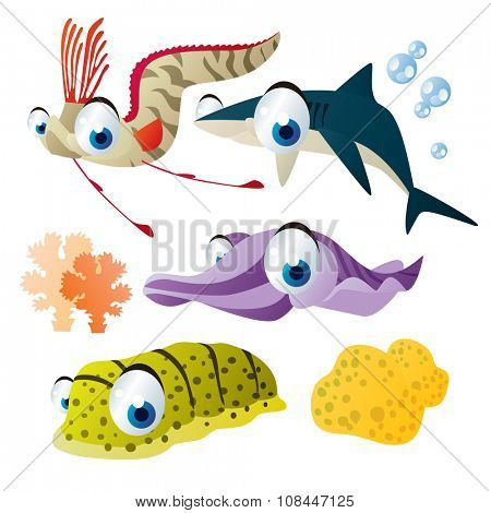 cute vector comic cartoon fish set: collection of sea life animals for children book illustration, flash card games, stickers or mobile applications: oarfish, shark, cuttlefish, sea cucumber