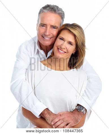Happy smiling elderly couple isolated white background.