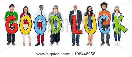 DIverse People Holding Text Good Luck