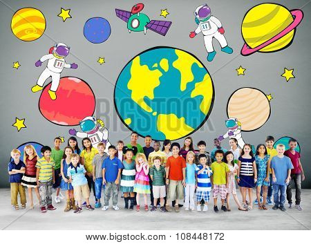 Planets Travel Dream Imagination Playful Space Universe Concept