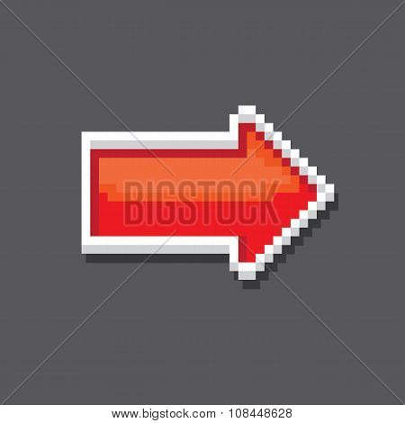 red pixel style arrow sign or button for web