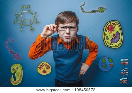 retro style boy holds hand glasses looking forward bent studying