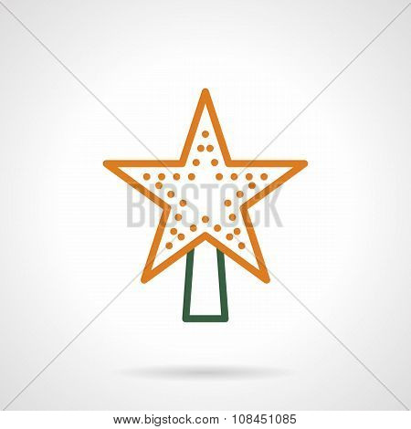 Christmas tree topper color line vector icon