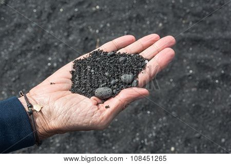 Close up of black sand, Hawaii