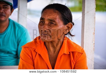 Old Lady In The Amazon Rainforest, Manaos, Brazil