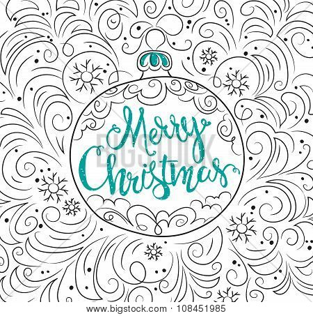 Hand Drawn Christmas Ball And Ornament