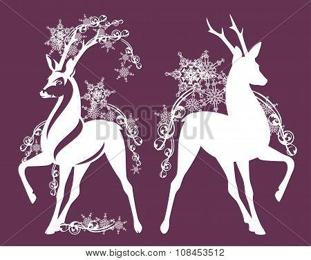 Deer Among Snowflakes Decor