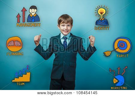 Teen boy businessman laughs and shows the power of arms icons co