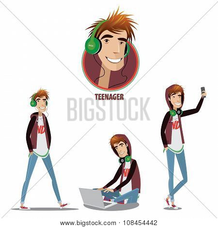 Set Of Teenager In Three Positions