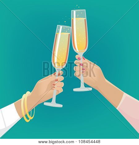 Girlfriends Clink Glasses Of Champagne