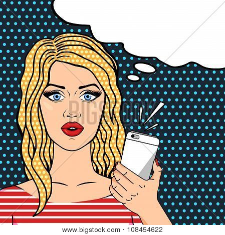 Curly blonde woman on phone pop art comic style thinking bubble for your text