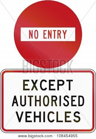 Road Sign Assembly In New Zealand - No Entry Except