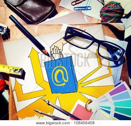 Online Marketing  Branding Commerce Advertising Concept
