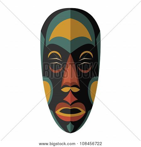 African Ethnic Tribal Mask On White Background