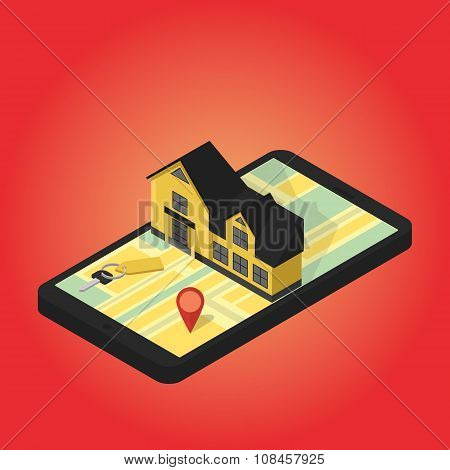 Real estate online searching isometric flat