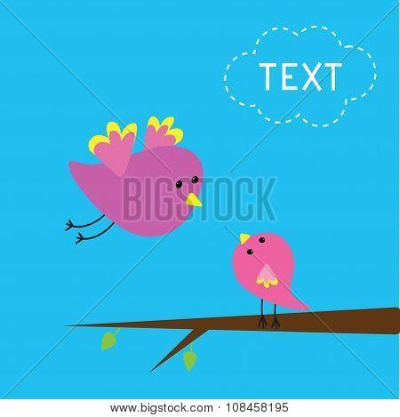 Flying Bird And Baby Bird. Card.