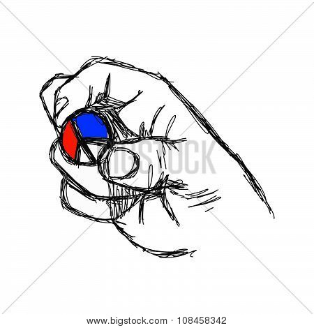 Illustration Vector Doodle Hand Drawn Of Sketch Right Hand Holding Peace Sign Coin With Color Of Fre